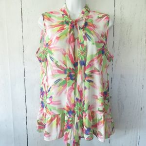 Sweet Pea Top Floral Ruffle Keyhole Tie Neck